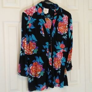 Maeve Black and Floral Blouse